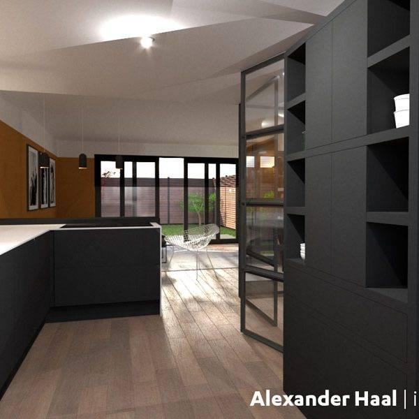 Open keuken met bar en maatwerk kast